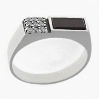 Кольцо из серебра 925 с агатом и фианитами