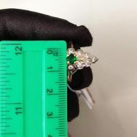 кольцо маркиза +с бриллиантами +и изумрудом