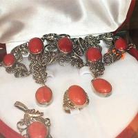 купить серебряные комплекты +с натуральными камнями