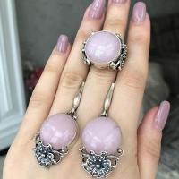 Серьги+кольцо с розовым кварцем