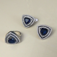 Серьги+кольцо с синим камнем